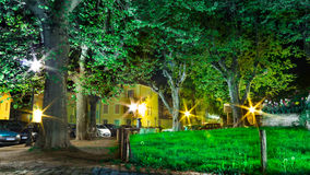 Urban green place. Beautiful urban green place of night Royalty Free Stock Image