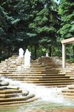 Urban green space. An urban park with pine trees and water fountains. Located in Calgary, Alberta royalty free stock photography
