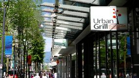 Urban Grill store sign. At downtown Vancouver stock video