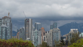 Urban growth luxury highrise buildings construction Vancouver stock image