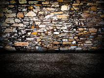 Urban Grunge Abstract Interior Brick and Stone Wall Stage Background Texture Stock Images