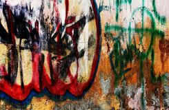 Urban grunge grafitti. Piece of grunge urban concrete wall with abstract paintings Stock Photos