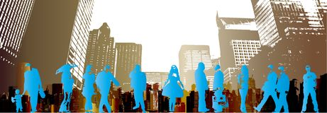 Urban grunge people. People shapes in an abstract city background Royalty Free Stock Photography