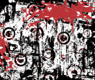 Urban Grunge Splatter. Background of with splattered blood on urban grunge stained wall in vivid red, black and white Stock Photo