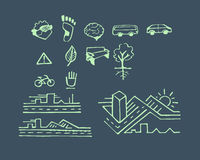Urban hand drawn vector drawings and icons Royalty Free Stock Photos