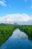 Urban heat power plant (HPP) on the horizon Stock Image