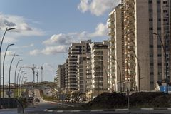 Urban high rise construction concept. View of New Residential Di. Strict Stock Photo