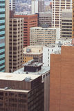Urban Highrises. View of the urban highrises of the city of Calgary, Alberta as viewed from a window stock photography