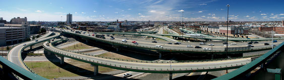 Urban Highway. Panoramic image of an inner city highway in Providence, RI, USA Stock Image