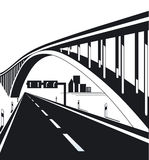 Urban highway and bridge. Black and white illustration of receding modern highway and bridge with copy space in background Royalty Free Stock Image