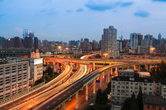 Urban highway overpass at dusk. Highway overpass at dusk in shanghai,city traffic view Stock Photos
