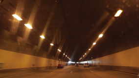 Urban highway road tunnel. Drive stock video