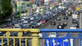 Urban highway at rush hour. With lots of cars view from the bridge Stock Photos