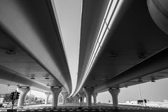 Urban highway under automotive bridges Royalty Free Stock Images
