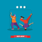 Urban hip hop dancers. Young guys dancing breakdance on a stage vector illustration in flat style design Stock Image