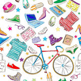 Urban hipster accesories pattern. Smart colored doodles over white Royalty Free Stock Photography