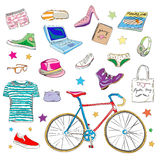 Urban hipster accessories. Smart colored doodles isolated on white Royalty Free Stock Image