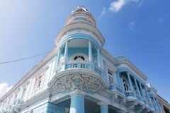 Urban Historic Centre of Cienfuegos - UNESCO World Heritage Site in Cuba. The Ferrer palace which is a famous neoclassical building in the Parque Jose Marti in stock photography