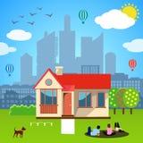 Urban home concept. Vector illustration Stock Photo