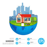 Urban home earth concept. Vector illustration Royalty Free Stock Image