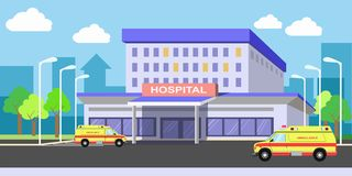 Urban hospital building exterior with ambulances on yard. Urban hospital building exterior with ambulance vehicles on yard. Medical vector flat illustration with Royalty Free Stock Photo