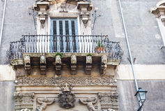 Urban house with baroque style in Catania, Sicily Royalty Free Stock Photos