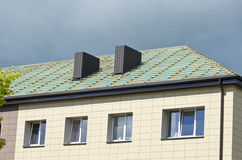Urban house roof restoration construction Royalty Free Stock Image