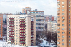 Urban houses in residential quarter in winter Royalty Free Stock Photography