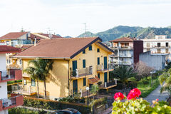 Urban houses in small town Gaggi in Sicily, Royalty Free Stock Images