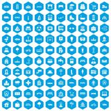 100 urban icons set blue. 100 urban icons set in blue hexagon isolated vector illustration stock illustration