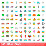 100 urban icons set, cartoon style. 100 urban icons set in cartoon style for any design vector illustration Stock Photography