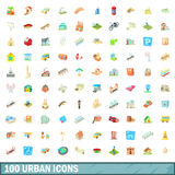 100 urban icons set, cartoon style. 100 urban icons set in cartoon style for any design vector illustration Royalty Free Stock Images