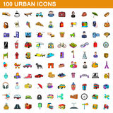 100 urban icons set, cartoon style Royalty Free Stock Photos