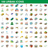 100 urban icons set, cartoon style. 100 urban icons set in cartoon style for any design vector illustration Royalty Free Stock Image