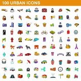 100 urban icons set, cartoon style. 100 urban icons set in cartoon style for any design illustration royalty free illustration