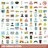 100 urban icons set, flat style. 100 urban icons set in flat style for any design vector illustration Stock Photography