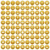 100 urban icons set gold. 100 urban icons set in gold circle isolated on white vector illustration Stock Image