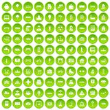 100 urban icons set green. 100 urban icons set in green circle isolated on white vectr illustration Stock Illustration