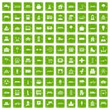 100 urban icons set grunge green. 100 urban icons set in grunge style green color isolated on white background vector illustration Royalty Free Stock Photos