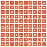 100 urban icons set grunge orange. 100 urban icons set in grunge style orange color isolated on white background vector illustration Royalty Free Stock Images