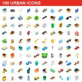 100 urban icons set, isometric 3d style. 100 urban icons set in isometric 3d style for any design illustration vector illustration