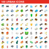 100 urban icons set, isometric 3d style Stock Photos