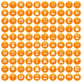 100 urban icons set orange. 100 urban icons set in orange circle isolated on white vector illustration stock illustration