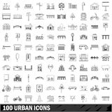 100 urban icons set, outline style Stock Photos