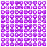 100 urban icons set purple. 100 urban icons set in purple circle isolated on white vector illustration royalty free illustration