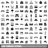 100 urban icons set, simple style. 100 urban icons set in simple style for any design vector illustration royalty free illustration