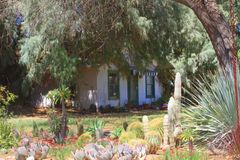 USA, Arizona: Little House with Cactus Frontyard Stock Photos