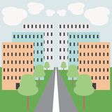 Urban illustration. With buildings, trees and road Stock Photo
