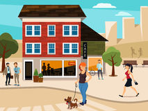 Urban illustration with walking people on the street. Road and buildings. Vector picture. Urban illustration with walking people on the street. Road and Royalty Free Stock Image