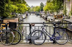View of Amsterdam canal Stock Photos